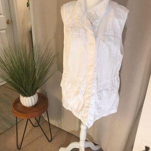 Talbots White Safari Style Long Cotton Vest Sz XL
